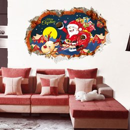 Wholesale Xmas Stickers For Windows - Fashion Xmas wall sticker waterproof Santa Claus wall decals 3d home decor sticker removable reindeer poster window decals