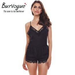 Wholesale Women Lace Romper - Burvogue New Sexy Bodysuits Women Lace Lingerie Teddies Babydolls Bodysuit Deep V Underwear Erotic Lingerie Body Suit romper