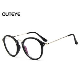 Wholesale Optical Glasses Womens - Wholesale- Outeye 2017 Retro Vintage Womens Eyeglasses Hybrid PC Metal Round Frame Eyewear Clear Lens Eye Glasses Optical Eyeglass Glasses