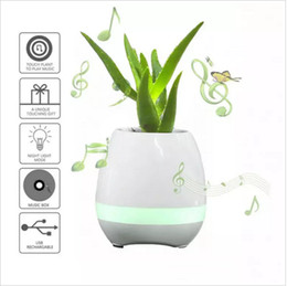 Wholesale Wholesale Mini Pots - Smart Bluetooth Speaker Music Flower Pots 2017 Home Office Mini Colorful LED light Touch Piano Induction Flowerpot