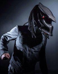 capacetes de pontos Desconto Atacado- 2017 Novos Predadores máscara de fibra de carbono neca capacete da motocicleta Rosto cheio de ferro homem moto capacete Segurança DOT Viseira preta de alta qualidade