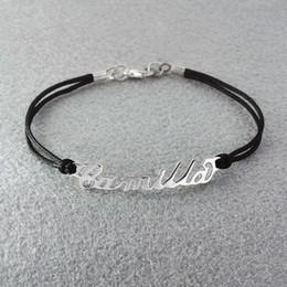 Wholesale Personalized Nameplates - Wholesale-Free shipping- Personalized Name Bracelet Personalized Name Jewelry Alloy Nameplate Bracelet Rope Chain Custom Your Name