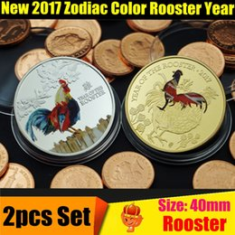 Wholesale Rooster Set - 2pcs Set Year of the Rooster 2017 Color Souvenir Coins Gift Lucky Chinese Zodiac Anniversary