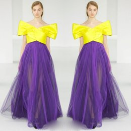 Wholesale Bright Tulle - Runway Fashion Evening Gowns Bright Yellow And Purple Tulle skirt Prom Dresses Off Shoulder Satin Arabic Women Formal Wear Custom Made