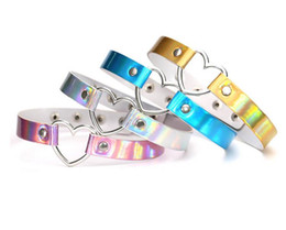 Wholesale Stainless Steel Collars For Slaves - Rainbow Laser Love Heart Charm PU Leather Choker Necklace Collar Sub Slave Necklace For Women Punk Statement Jewelry