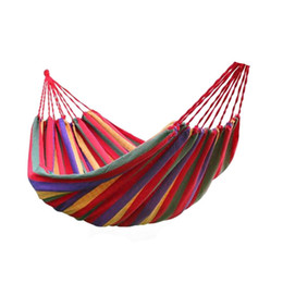 Wholesale Outdoor Adult Swings - Wholesale- Portable Outdoor Hammock Garden Sports Home Travel Camping Swing Canvas Stripe Hang Bed Hammock Red, Blue 190 x 80cm