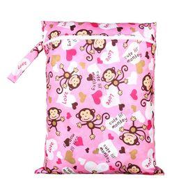 Wholesale Reusable Baby Diaper Bags - Wholesale-PUL Wet Bag Baby Waterproof Cloth Diaper Bag Single Pocket Zipper Print Reusable Baby Nappy Diaper Rubbish Wet Bag 30x40cm