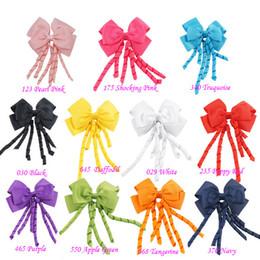 Wholesale Wholesale Korker Hair Bows - 4 inch korker streamer ribbon elastic bobble Grosgrain Ribbon Long Korker Tail Fancy Cute Hair Bow With Clip For Girls