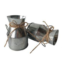Wholesale Vintage Tin Cans - Vintage Nostalgia Mini Hemp rope garden Silver Watering Can  Milk Tin Bucket  Flowers Keg Favor Box Kit  Wedding favor  Tin Box