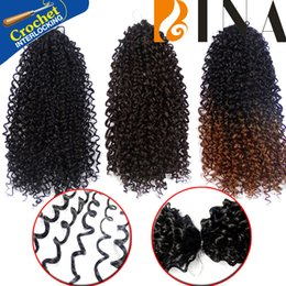 Wholesale Short Curls Wigs - Synthetic hair black crochet afro kinky curly hair extension 13inch ombre malibobo wand curl short wigs 1pack lot