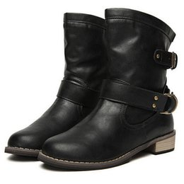 Wholesale Ladies Leather Boots Wholesale - Wholesale-New Women Motorcycle Boots New 2015 Female Spring and Autumn Fashion Woman's Martin Boots Flat Vintage Buckle Casual Lady Boots