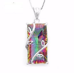 Wholesale Huge Vintage Jewelry - Huge 16ct Genuine Natural Fire Rainbow Mystic Topaz Pendant Charm Solid 925 Sterling Silver Vintage Fashion Women Jewelry