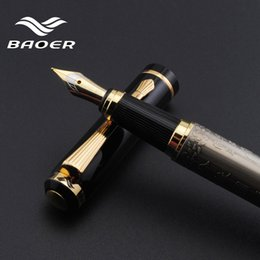 "Wholesale Baoer Eight Horses - Genuine Baoer 507 Fountain Pen Golden Xubeihong ""the eight horses"" Medium Nib Fountain Pen"