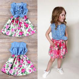 2019 vestidos de meninas de flor china Meninas sem mangas splicing dress china rose flower saias jean azul amarrando roupas nó meninas verão saias casuais