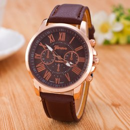 Wholesale Wholesale Roman Fashion Watch - Christmas gift Luxury Fashion Geneva watches Roman Numerals Watch Wrist Faux leather Colorful Candy Cute quartz Exquisite wrist DHL