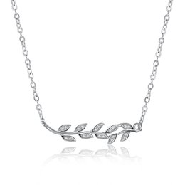 Wholesale Olive Leaf Charm - 925 Sterling Silver White CZ Leaf Olive Branch Charm Clavicle Necklace