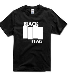 Wholesale Womens Black Tee - BLACK FLAG tshirt Bars Logo OLD School PUNK hardcore mic Mens&Womens top tee T-Shirt