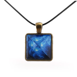 Wholesale Glow Dark Crystals - Original Blue Galaxy Pyramids Necklace Vintage Glowing Jewelry Love Pendant for Couples Lovers Glow In the Dark Women Men Gift