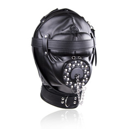Wholesale sex fun toys - Black Soft Leather Head Bondage Fully Enclosed Fun Headgear Masks Sex Games Slave Head Hood BDSM Sex Toys