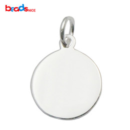 Wholesale Sterling Silver Personalized Charm - Beadsnice 925 sterling silver polished circle blank with hole for pendant stamping blank personalize birthday gifts ID 35634