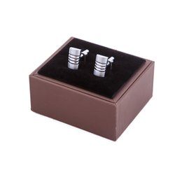 Wholesale Brown Jewellery - brown paper velet inner men's fashion cufflink box for gift, gift boxes jewellery box good quality CTB005