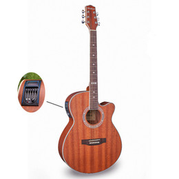 Wholesale Acoustic Electric Jumbo Guitar - Wholesale-Electro Acoustic Electric Folk Pop Flattop Guitar Jumbo 40 Inch Guitarra 6 String Red Light Built-in Tuner Cutaway Sapele