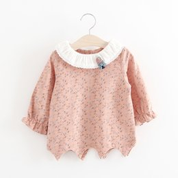 Wholesale Korean Button Down - Girls Sawtooth Hem Floral Shirts Back Buttons 2017 Spring Kids Boutique Clothing Little Girls Lace Collar Korean Style Blouse Shirts Tops