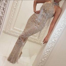 Wholesale Evening Dresses Kim Kardashian - Evening dress Yousef aljasmi Labourjoisie Charbelzoe Sheath High Neck Beads Crystals Off shoulder Kim kardashian Zuhair murad