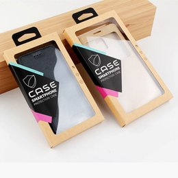 Wholesale Universal Tray - Kraft Brown Retail Packaging Box Universal Mobile Phone Case Package Paper for Apple iphone Samsung with PVC Blister Tray + Hanger + Sticker