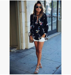 Wholesale Womens Floral Print T Shirt - 2017 new Womens Casual Chiffon Blouse fashion Flora Printed Long Sleeve Pullover T-Shirt Ladies Loose Black Shirt Tee Jumper