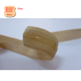 Wholesale Elastic For Sewing - 12mm beige Silicone Backed Gripper Elastic 1 2inch crafting & sewing webbing for bra lingerie gowns prom dress girdle clothing