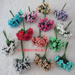 Wholesale Wedding Car Decorations Supplies - Wholesale-12pcs lot Mini artificial Stamen Bud Bouquet Leaf flower for home Garden wedding Car corsage decoration Box crafts Supplies