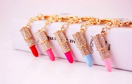 Wholesale Branded Keychains - Lipsticks CZ Crystal Keychains Creative Key Holder Purse Bag Car Decorations Christmas Gift Keychains 2017 brand key chain