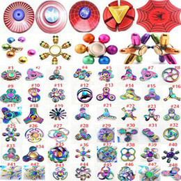 Wholesale Hand Gyro - 120modles High quality new Rainbow metal Fidget Spinners Hand Spinners Finger EDC Toys Spins Tri-Spinner Spiral Gyro EDC Fidget With Box