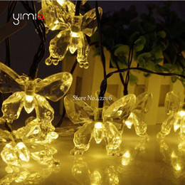 Wholesale Led Butterfly String Lights - Wholesale- 4.8m 20 LED Solar Holiday Christmas Lights 8 Modes Waterproof Outdoor Butterfly Solar Fairy String Lights For Home Garden Decor