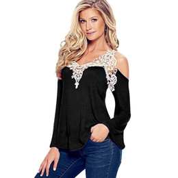 Wholesale- Plus 4XL White Lace Black Shirt Sexy femminile vintage 2016 Top Chemise Femme Shirt manica lunga da donna grandi dimensioni vestiti delle donne da