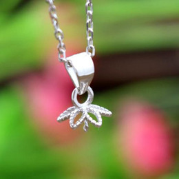 Wholesale Sterling Silver Pendant Clasp - Sterling Silver 925 Plated White Gold 8-12mm Pearl or Round Bead Semi Mount Pendant clasp without necklace