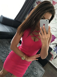 133cbf8b84 free shipping New high-end women s wholesale sexy solid U-neck cross belt package  hip sleeveless dress Cocktail Dresses
