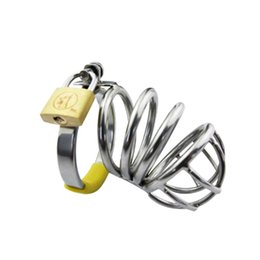 Wholesale Male Chastity Device Cb - Stainless Steel Cock Cage Male Chastity Device Metal CB Penis Lock Chastity Cage Virginity Belt Sex Toy Sex Product for Men G107