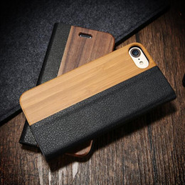 Wholesale Handmade Leather Wallets - Real Genuine Natural Wood Litchi PU Leather Flip Cover Folio Kickstand Wallet Handmade Wooden Bamboo Cases for Apple Iphone 7 plus 6S plus