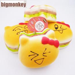 Wholesale Monkeys Toys Brands - Big monkey brand 11CM hello jumbo Kawaii arrival slow rising aroma Lovely kitty expression hamburger with squishy charm toy