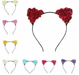 hair design multi Promo Codes - 2017 New Trendy Cute Cat Ear Design Hairbands with rose flower Headbands Hair Accessories Hair Band 9colors