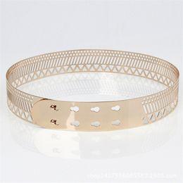 Wholesale Wide Width Belts - Wholesale- Metal Mirror Waist Belt 4 cm Width 2017 Fashion Women hollow Metallic Celebrity Gold silver Wide Band For Women Belts BL23