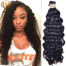 Wholesale Bulk Curly Hair Extensions - 7A Brazilian Deep Curly Bulk Hair For mini Braiding Bulk Hair Unprocessed 50g Bulk Human Hair No Weft Extensions