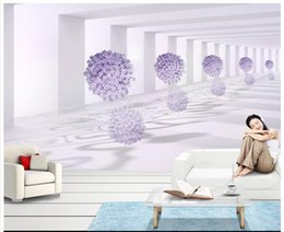 Wholesale Free Purple Wallpaper - 3D wall murals wallpaper custom picture mural wall 3D space purple flower living room wallpaper 3D Mural wallpaper Free shipping