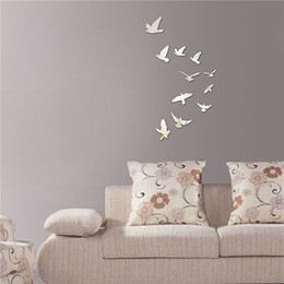 Wholesale Wall Stickers Tile - Hot Acrylic Birds Mirror Effect Mural Wall Sticker Removable Modern Room DIY Decoration