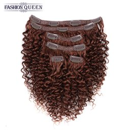 Wholesale Extensions Clip Auburn 33 - Mongolian Afro Kinky Curly Clip In Human Hair Extensions #33 Dark Auburn 6Pieces 115g Pack African American Clip In Human Hair Extensions