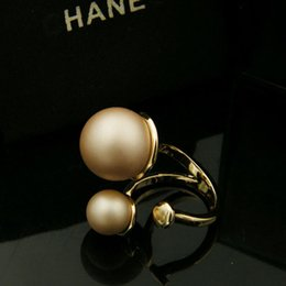 Wholesale Shell Mother Pearl Rings - Famous design 18K Real Gold Top quality brass with pearls cross design for women Rings Jewelry Free Shipping PS5464