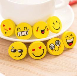 Material escolar escritório atacado bonito amarelo desenhos animados sorriso rosto redondo borracha lápis borrachas para crianças material escolar frete grátis de Fornecedores de pizza crianças