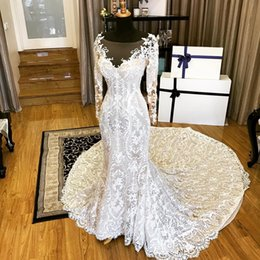 Wholesale Modest Sweetheart Neckline - Modest Court Train Wedding Dresses Real Image Sweetheart Sheer Scoop Neckline Country Wedding Dress Lace Bridal Gowns With Long Sleeves